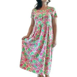 Vintage Lilly Pulitzer Floral Midi A-Line Dress S